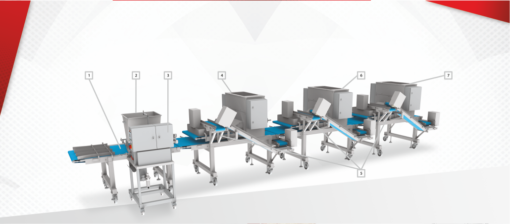 Pizza topping line process